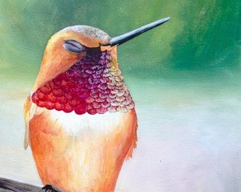 Happy Humming Bird Karissa Viebeck Art PRINT