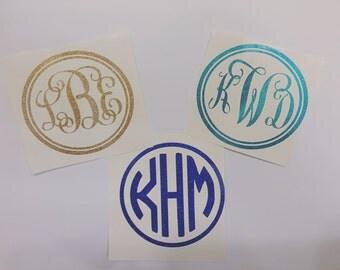 Glitter Monogram Vinyl Decals