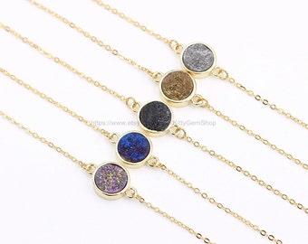 Round Druzy Necklaces -- Druzy Choker Necklace -- druzy jewelry supplies wholesale geode bridesmaid necklaces DJ