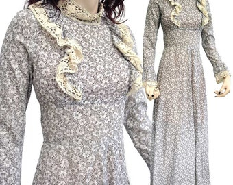 Vintage 70s Mr Darren Prairie Style Maxi Dress in a Grey Floral Ditsy Print