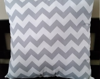 Gray Chevron Felt Flower Pillow