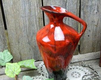 Vintage Danesi Canadian Pottery - Red Lava Glaze