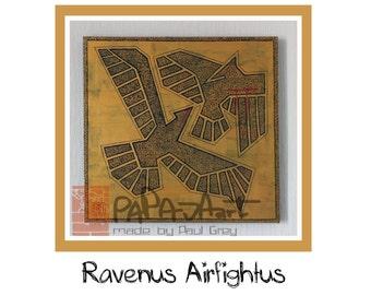 Ravenus Airfightus- Original Oil painting, carved painting, acrylic painting,  50cm x 50cm
