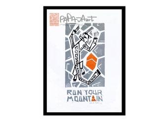 Run your Mountain - Handmade linocut print on A5, Running print, Snow Leopard linoprint