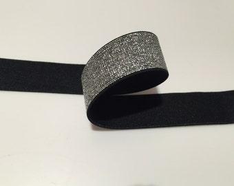 Black Silver Glitter Elastic, shimmery elastic, 1 in glitter elastic, 1 in purple elastic