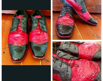 rare vintage RED BLACK ALLIGATOR crocodile oxford wingtip mens laced shoes loafers leather pointed square toe size 11 embossed !
