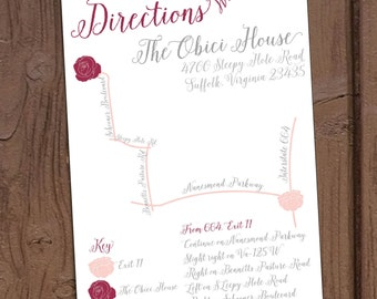 Romantic Blush Floral Wedding Directions Card with Custom Map