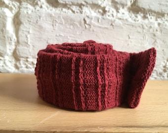 Claret cotton knitted textured skinny tie: burgundy, maroon; vegan, UK