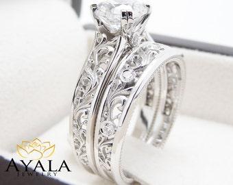 Unique Moissanite Engagement Rings 14K White Gold Unique Engagement Ring Bridal Set Filigree Rings
