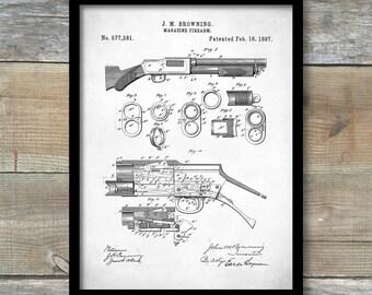 Browning Magazine Firearm Poster, Browning Magazine Firearm Patent, Winchester Shotgun, Gun poster, Gun Print, Gun Décor, P368
