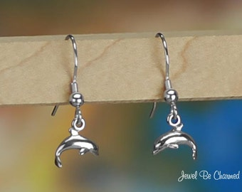 Tiny Sterling Silver Dolphins Earrings Fishhook Earwires Solid .925