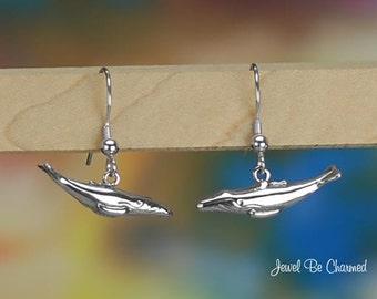 Sterling Silver Humpback Whale Earrings Fishhook Earwires Solid .925