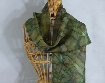 "Silk Scarf (Small) ""Moss Green/Jungle Green"", Hand Painted Silk Scarf, Green Scarf"