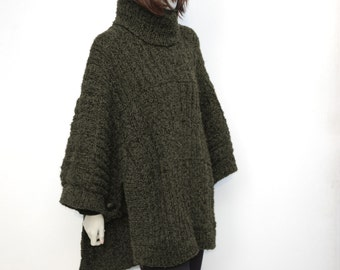 Wool Poncho-Oversized Poncho- Knit Poncho Sweater-Wool Cape Ponchos-Hand Knit Poncho-Chunky Poncho-Women Knit Poncho-Knitting Poncho