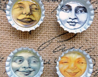 Vintage Moon Face Magnets, Bottle Cap Moon Magnets, Man In The Moon