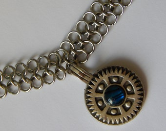 Iron Chainmail Short Necklace/Choker with Pendant - Left-handed