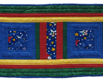 Small Red, Green and Blue Star Santa Table Runner