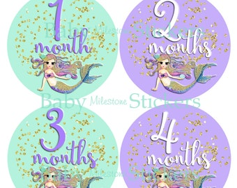 GIFT, Baby Girl Monthly Stickers, Baby Month Stickers, Mermaid, Nautical, Gold Faux Glitter, Lavender, Purple Aqua, Nursery Decor