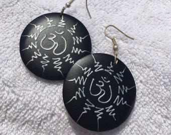 HandCrafted Black and Silver Mosaic Earrings