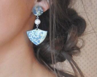 Earrings - Wood & Chiyogami Japanese Paper Earrings - Rebelles des Bois Bouclier Earrings