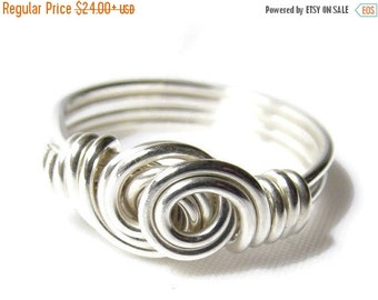 10% OFF Double Swirl Ring, Sterling Silver Wire Ring, Silver Swirl Ring, Wire Wrapped Jewelry Handmade Ring, Size 4 5 6 7 8 9 10 11 12 13 14