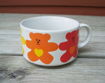 vintage colorful teddy bear & hearts soup bowl with handle   ceramic soup bowl   children's dishes   kids decor   hearts  rainbow