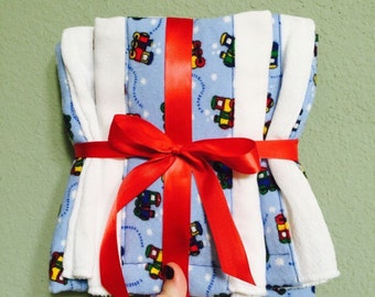 Burp cloths and baby blanket gift set (Trains)
