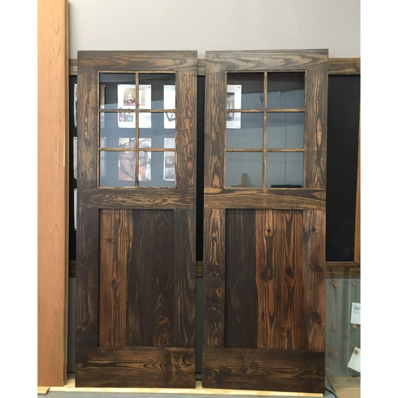 Glass Barn Sliding Doors: Vintage Custom Made Plank Design Sliding Barn Door W/Glass