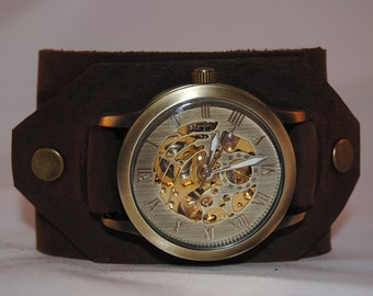 Watch retro leather automatic Steampunk