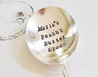 Custom Peanut Butter Spoon - Hand Stamped Spoon - Engraved Name Spoon - Vintage Silver Plate Spoon Gift - Foodie Stamped Silverware