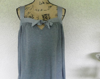 Used Clothes Dressy Tops Gray Shirt Used Clothing Business Casual Knit Top Comfy Clothing Loose Top Sleeveless Top Tank Top Halter Top