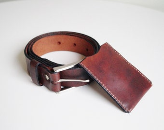 Leather Belt and Card Case Set Handmade Belt with Metal Buckle and Case Combo Mens Belt and Hand Stitched Card Wallet