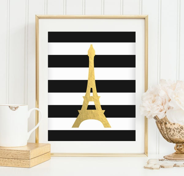 Eiffel Tower Print Gold Foil Eiffel Tower Decor Minimalist Print Paris Print Travel Printable Wall Print French Decor INSTANT DOWNLOAD 0072