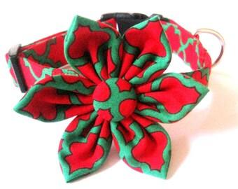 Christmas dog collar Dog collar with flower