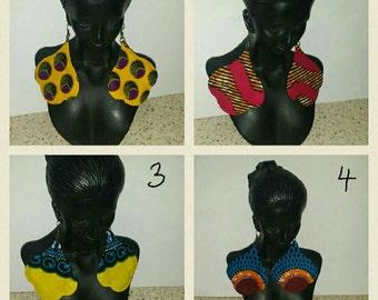 PETIZ African Print Medium Pear Earrings