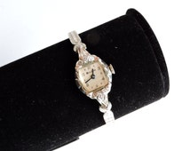 Vintage WORKING Ladies Bulova Watch, Diamond Accents, 10K Rolled Gold Plated Watch, White Gold, Speidel Band, Wind Up Mechanical Watch