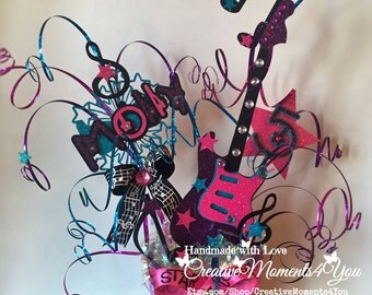 Birthday Girl Rock Star Guitar, Musical notes Table Center Piece