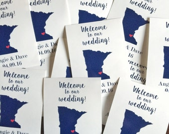 Wedding Gift Bag Labels / Stickers-  State and heart gift labels- Welcome to our Wedding