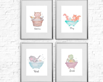 Sale Kids Bathroom Decor Wall Art Printable Set Of 4 Animal In Bath Print Owl