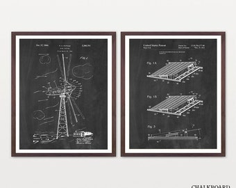 Renewable Energy Patent Collection - Solar Power - Solar Patent Art - Wind Turbine - Wind Turbine Patent - Green Energy Art - Energy Poster