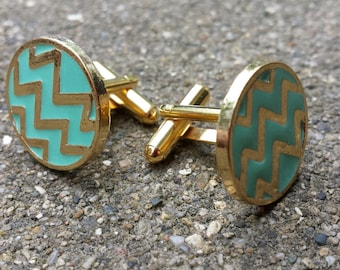 Cuff Links - Aqua Chevrons