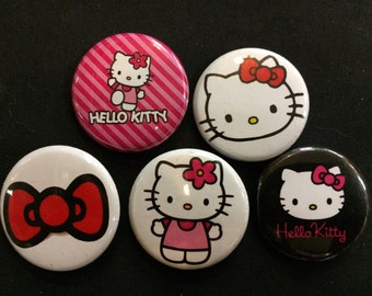 HELLO KITTY Button, Pin, Badge Set - japanamation japan cartoon toys ahiro pekkle