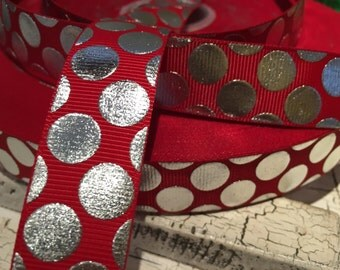 3 yards 7/8 Christmas Valentine Silver metallic dot on red grosgrain ribbon