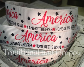 "7/8"" America Land of the Free Home of the Brave Patriotic grosgrain ribbon"