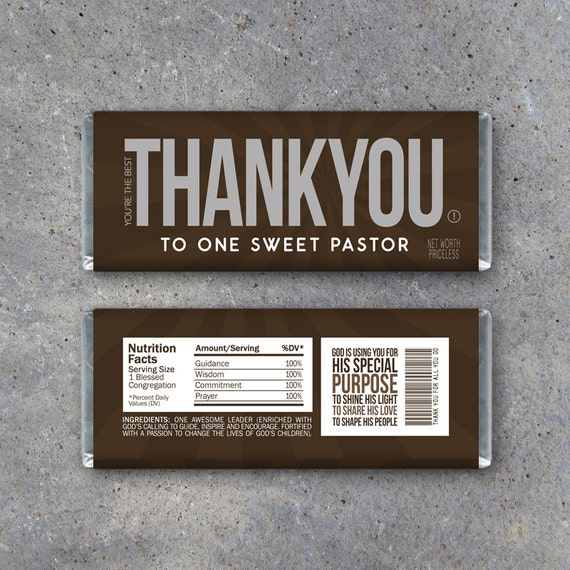 THANK YOU Pastor Appreciation Candy Bar Wrappers – Printable Instant ...
