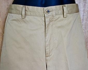 LL Bean/ Men's Vintage LL Bean Supima Cotton Flat Front Khaki Trousers/ 1980s Safari Pants/ Size 32 Khakis