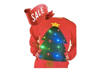 Ugly Christmas Sweater - Christmas Tree - LIGHTS UP!!  - Men's - Women's - SALE!!!___**Fast Shipping**___