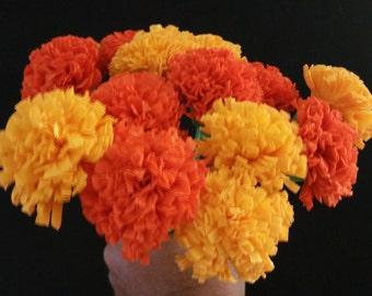 24 Marigolds Crepe Paper Flowers, Day of the Dead, Dia de Los Muertos, Mexican Flowers, Orange, Yellow, Wedding, Baby Shower, Paper Flowers