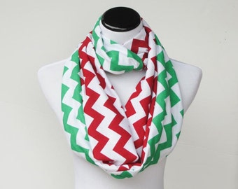 Red green scarf Christmas scarf red green chevron reversible infinity scarf soft jersey knit loop scarf, circle scarf for Christmas Holidays