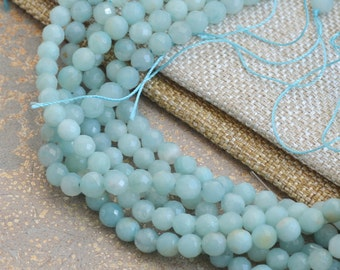 6mm Faceted Amazonite Beads, Round, Faceted, Soft BlueCut Amazonite,Sparkly, Amazonite Beads, Gemstone Beads, Jewelry Making,One Strand, 15""
